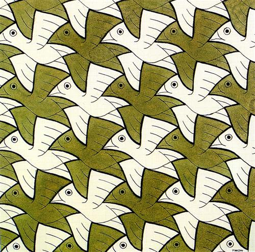 Symmetry Watercolor 106 Bird - M.C. Escher