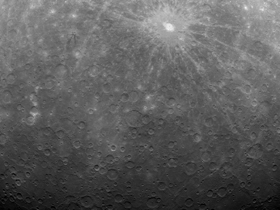 At 5:20 am EDT on Mar. 29, 2011, MESSENGER captured this historic image of Mercury. This image is the first ever obtained from a spacecraft in orbit about the Solar System's innermost planet. Over the subsequent six hours, MESSENGER acquired an additional 363 images before downlinking some of the data to Earth. The MESSENGER team is currently looking over the newly returned data, which are still continuing to come down.