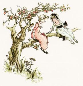 kate greenaway, marigold garden, in an apple tree, victorian girl clip art, vintage printable storybook image