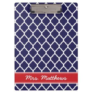 Navy and Red Quatrefoil Custom Monogram Clipboards