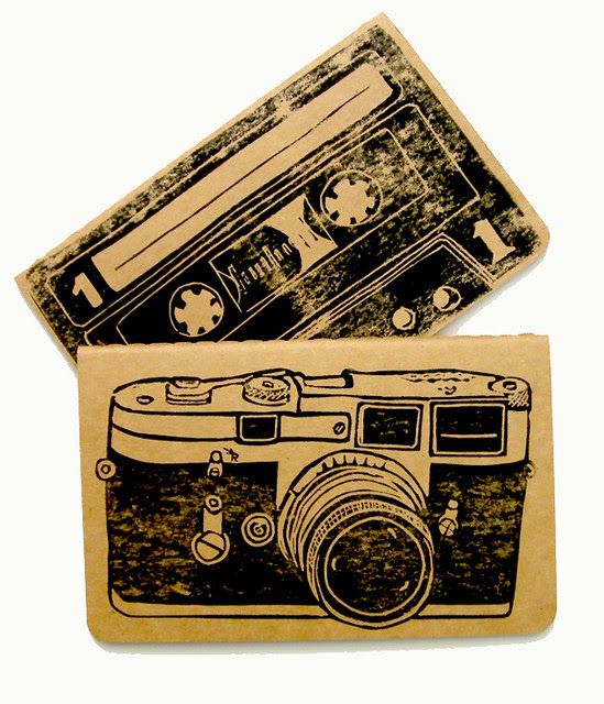 Camera and blank tape linocut printed moleskin notebooks