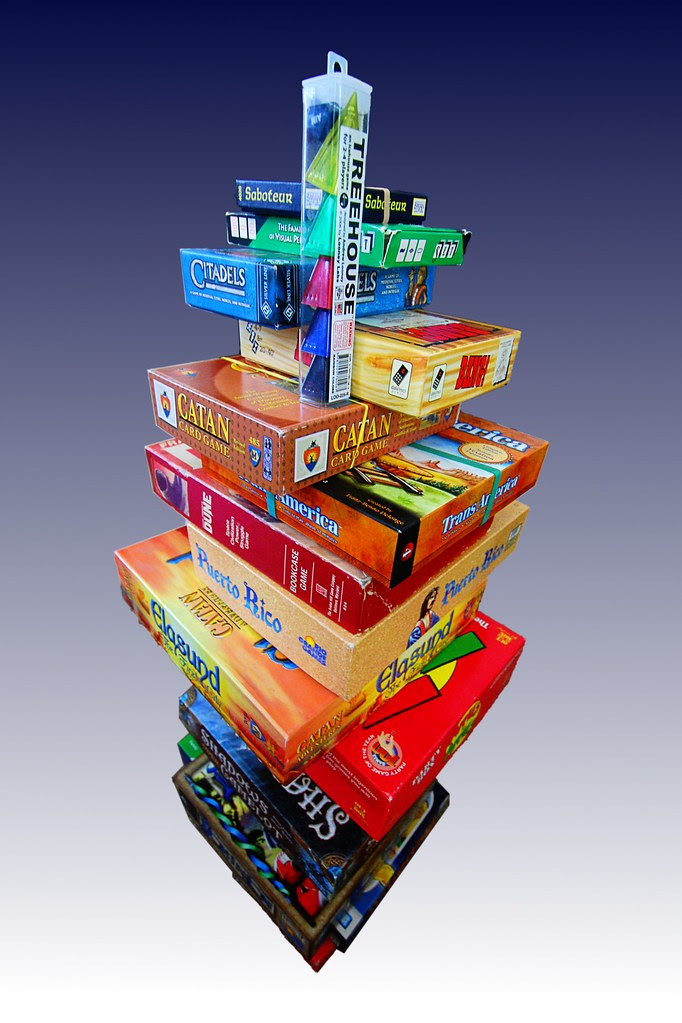 A large stack of games.