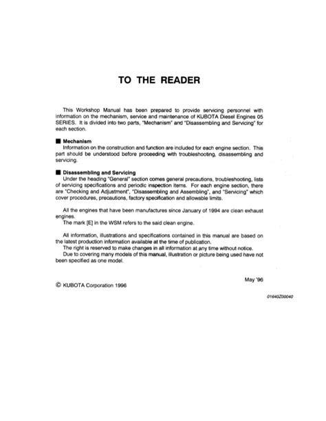 KUBOTA D905-B (E) DIESEL ENGINE Service Repair Manual