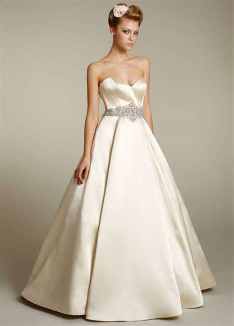 LAZARO: Antique silk faced satin bridal ball gown