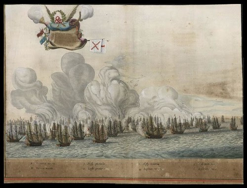 battle sail ships in 1647 near Brazil