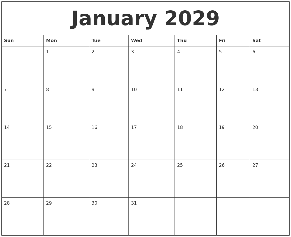 january 2029 free printable monthly calendar