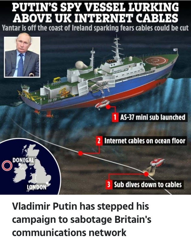 Putin's Spy Ship Armed With Stealth Subs Lurking Above UK Internet Cables (Photos)