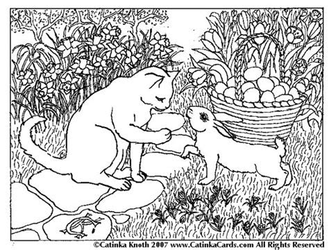 bunny cat greet spring egg basket coloring page flowers