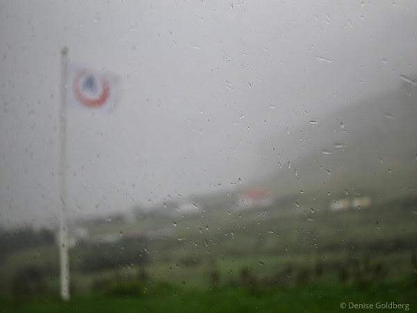 rain & mist, outside of the hostel in Vik