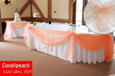 New Color Coral Peach Organza 10M*1.35M Top Table Swags