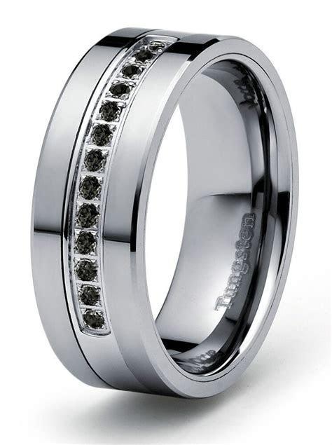 8mm 0.21ct Black Diamond Tungsten Modern Men's Wedding