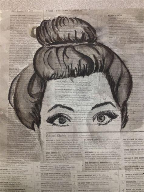 pretty drawing art hair  face words london bun