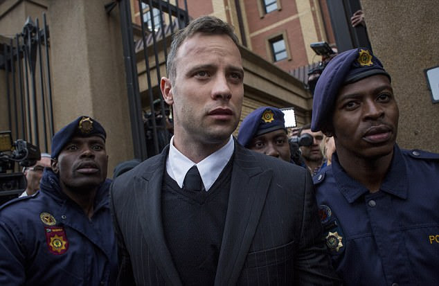Injured: Pistorius, who had his murder sentence doubled last month, was waiting for the phone at Atteridgeville Correctional Centre, near Pretoria, when he started a fight with an inmate