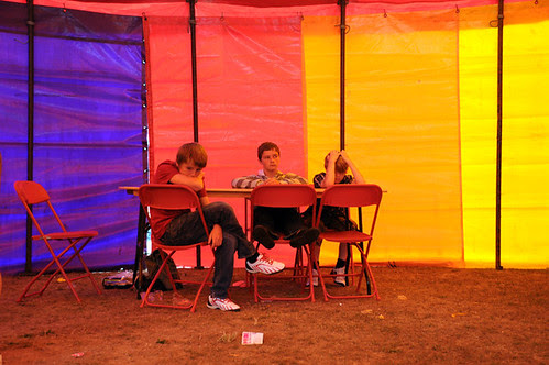 bored kids in rainbow tent_7445 web