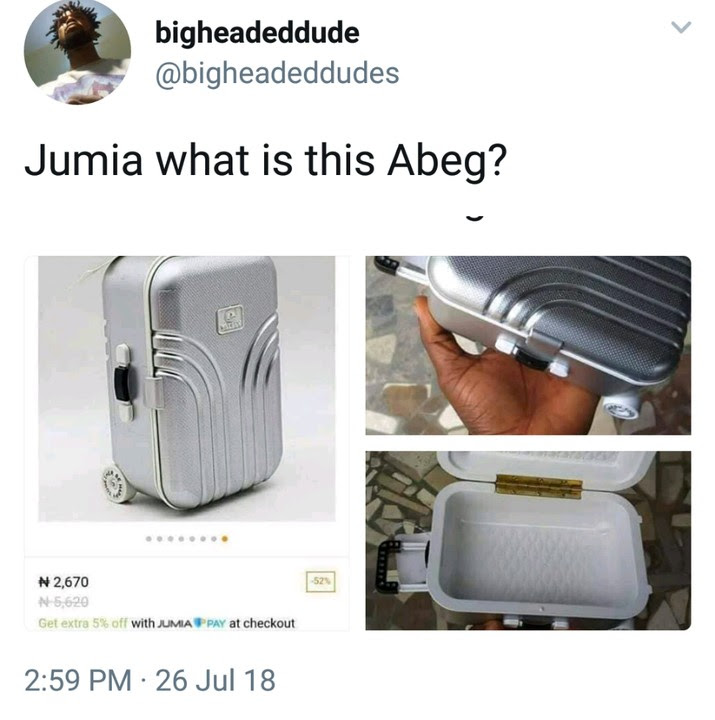 Man Orders Suitcase From Jumia, See What He Got (Photos)