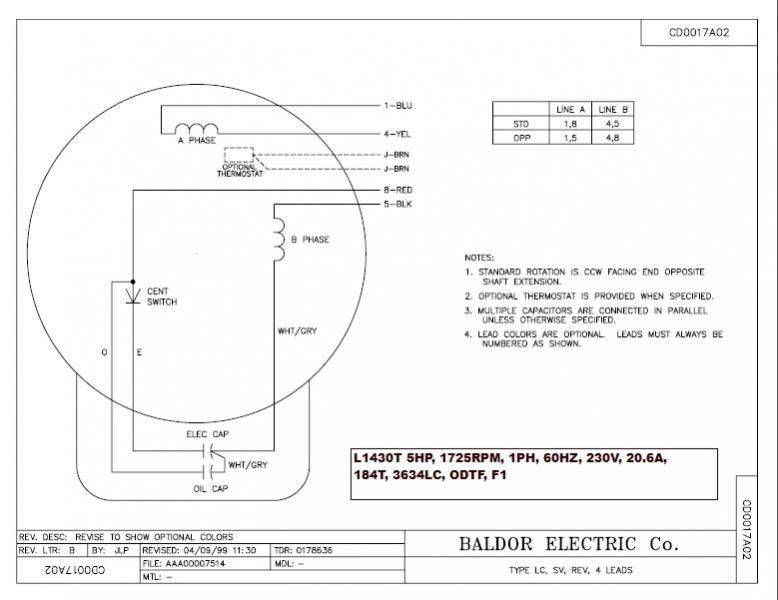 baldor l1408t capacitor wiring diagram  schematic wiring