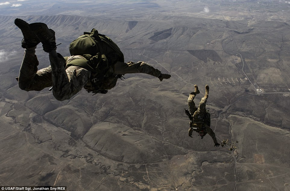 Daredevil: Soldiers assigned to the 1st Special Forces Group conduct a high-altitude, low-opening jump from a C-130J Super Hercules over Yakima Training Center in Washington. Special forces soldiers are experts in unconventional warfare, direct action, special reconnaissance