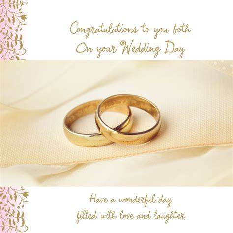 ON YOUR WEDDING DAY CARD TWO GOLDEN WEDDING RINGS DESIGN