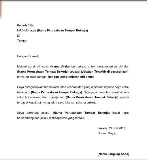 Contoh Surat Pengunduran Diri Organisasi Gontoh