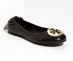Tory Burch Reva Ballet Flats. Black/Gold. Size 8.