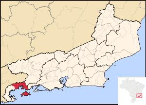 Map locator of Rio de Janeiro's Angra dos Reis...