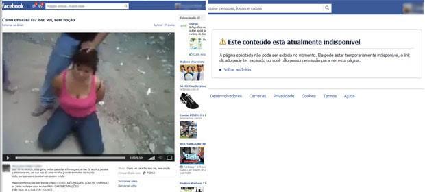 Reprodução de página do Facebook que mostra vídeo de mulher sendo decapitada; imagens foram tiradas do ar (Foto: Reprodução/Facebook)
