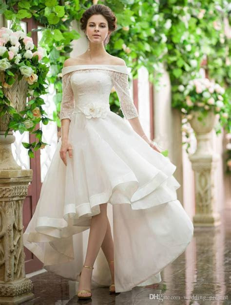 Discount Vintage High Low Wedding Dresses Off Shoulder 3 4