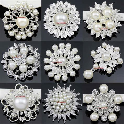 Wholesale Lot 12 100 Silver Pearl Rhinestone Crystal