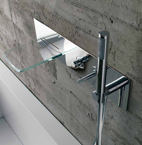 Bathroom Faucet from Bandini - the Arya Glass Waterfall Faucet