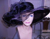 Black kentucky Derby hat organza