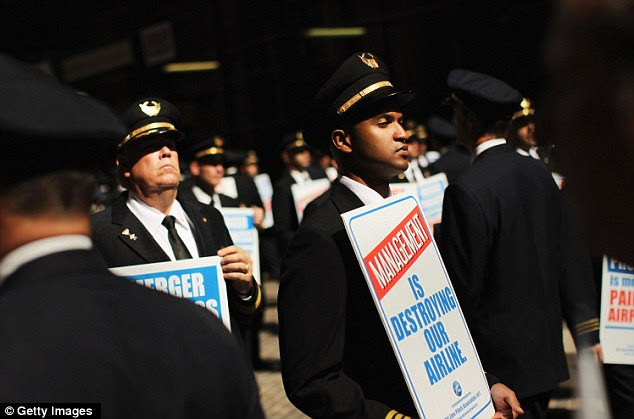 Peaceful protest: United officials have said they want a fair contract and have been meeting with pilots from both unions since August 2010
