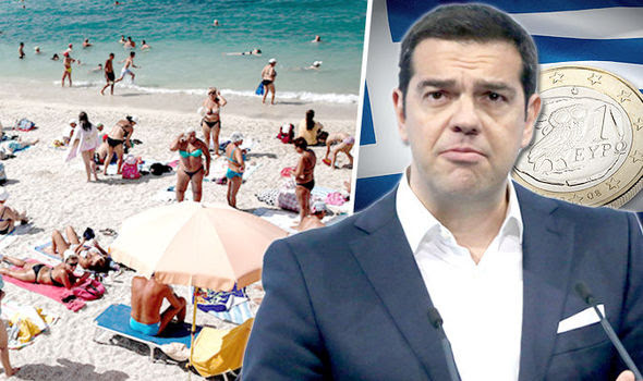 split image of beach goers and Greece leaders