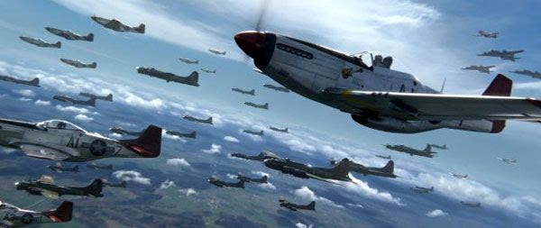 Dozens of P-51 Mustangs, piloted by the Tuskegee Airmen, are ready for a dogfight in RED TAILS.