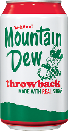 Retro-themed design on a 12-ounce can of Mount...