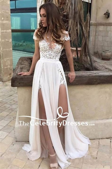 Sexy White Thigh high Slit Cap Sleeves Lace Prom Dress