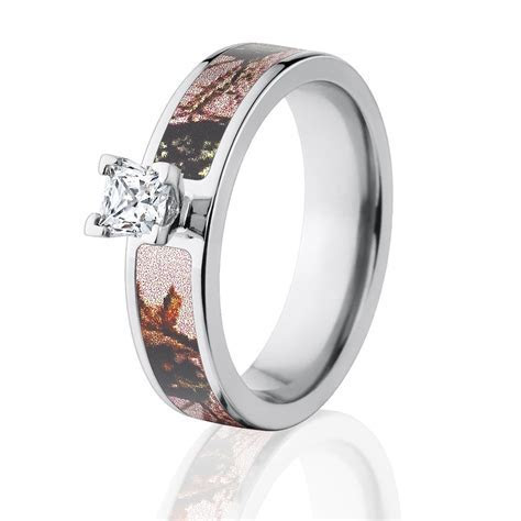 Pink Camo Diamond Engagement Rings, Licensed Mossy Oak