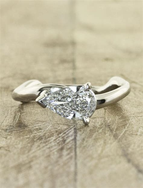 Aurora Pear: Sculptural Pear Shaped Diamond Ring   Ken