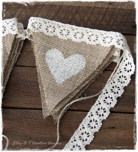 BURLAP HESSIAN CROCHET LACE BUNTING COUNTRY VINTAGE SHABBY