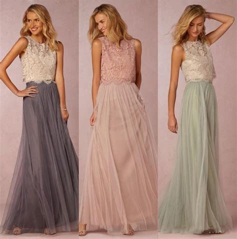 New 2016 Two Pieces Bridesmaids Dresses Lace Crop Top