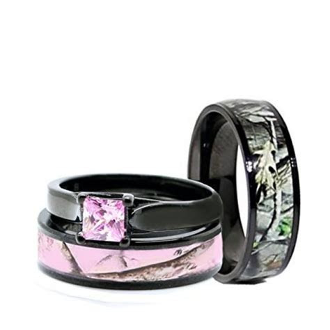 His And Hers Pink Women & Men Black Titanium Camo And