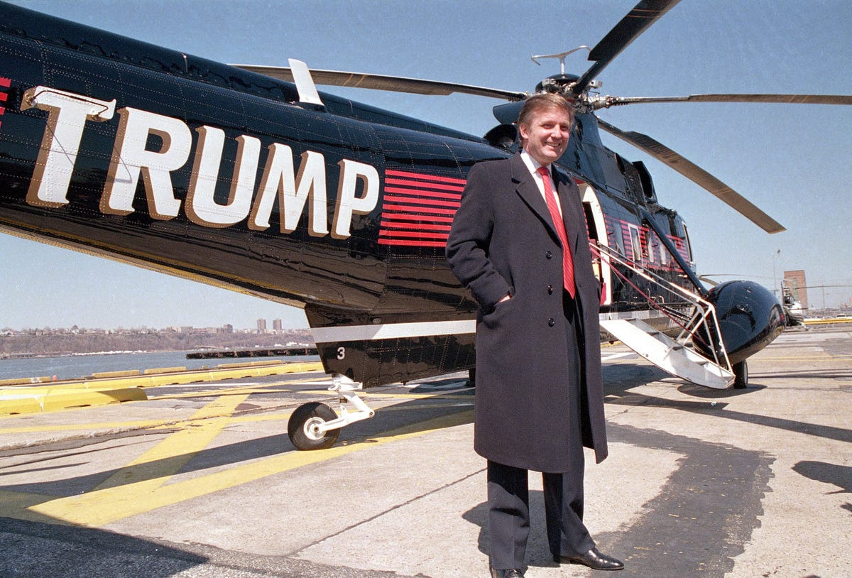 Trump owns a fleet of luxury helicopters.