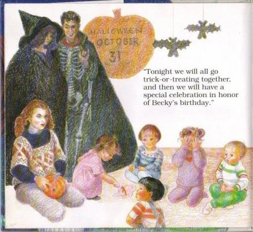 """On the day of Halloween (aka the day of Samhain which is believed to be a day where the veil with the spirit world is at its thinnest), the teachers are dressed as a witch and a skeleton. """"Becky's birthday"""" will actually be an occult ritual."""