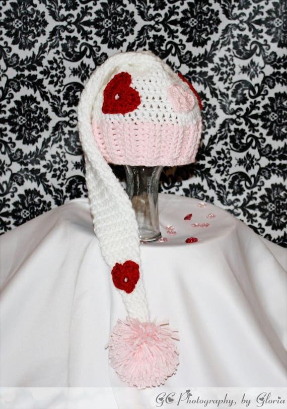 Valentines day Elf style hat photo prop( Newborn to adult sizes Crochet Pattern)