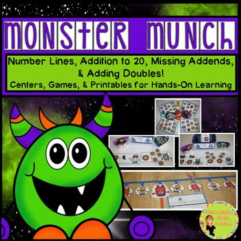 """""""Monster Munch!"""" Addition to 20, Number Lines, Missing Add"""