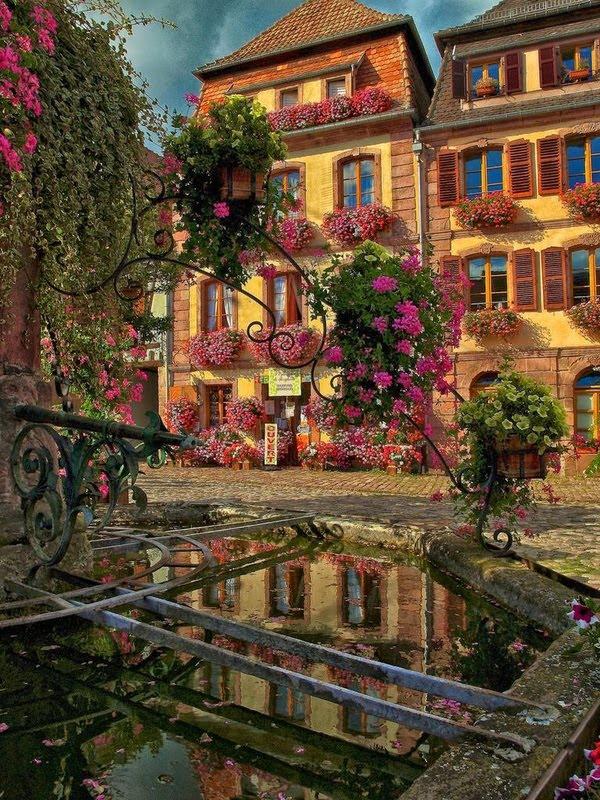 Village Fountain, Bergheim, France