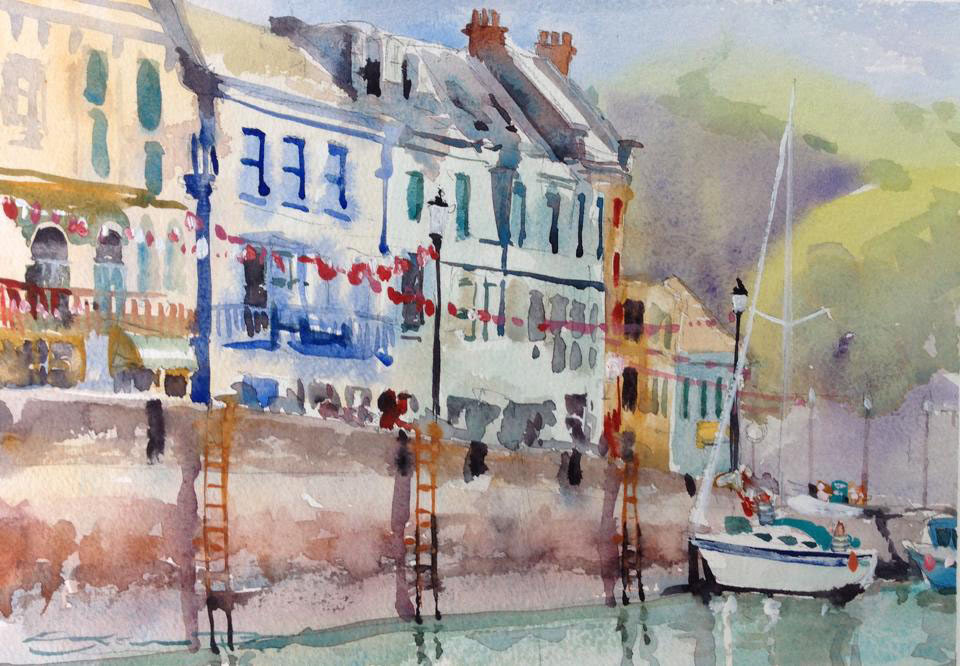 """""""Taking On Provisions"""" Ilfracombe harbour Watercolour painting from the woolacombe Art Gallery of Steve PP."""