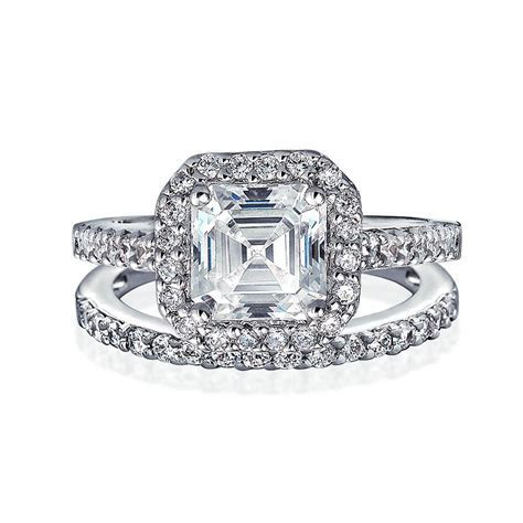 1CT Classic Emerald Cut Cubic Zirconia Pave Halo 925