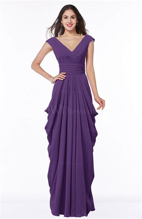 Dark Purple Mature Short Sleeve Chiffon Floor Length