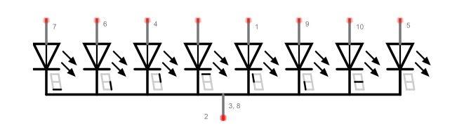 Display de Sete Segmentos de Catodo Comum