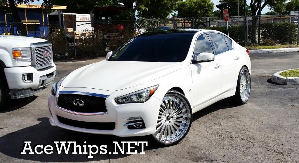 "Ford Fusion Black Rims >> Ace-1: White 2014 Infiniti Q50 on 24"" Autonomo Forgiatos"